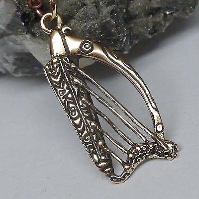 Schmuckanhänger keltische Harfe aus Bronze Kelten Druiden 4cm mit Lederschnur