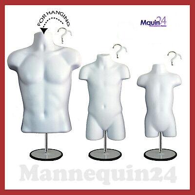 Torso Body Dress Mannequin Form White Male Child Toddler Set 3 Stands 3 Hanger