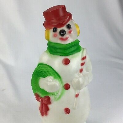 """Vintage Blow Mold SNOWMAN 13"""" 1968 Empire 1352-1377 Christmas Red NO LIGHT"""