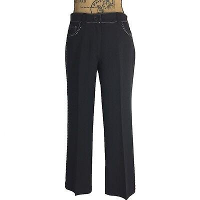 Womens 6 M Black Dress Pant White Contrast Stitch 2 Pocket Freddie Crop Work USA
