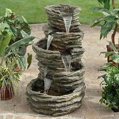- Water Fountain Five-Level Rock Pond Waterfall Indoor/Outdoor Fountain Large