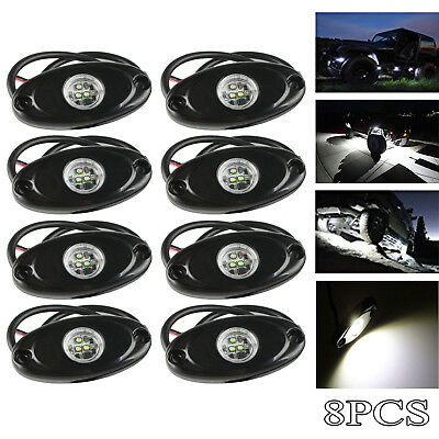 8x CREE 9W LED Rock Light Bright White for Jeep Boat Off Road Truck Under Glow