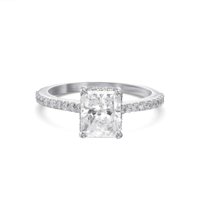 Real Diamond Engagement Ring D/vs2 2.00 Ct Radiant Cut 14k White Gold