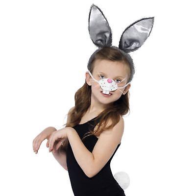 Kinder Mädchen Jungen Osterhase Ohren Nase Schwanz Peter Kostüm - Kinder Peter Hase Kostüm