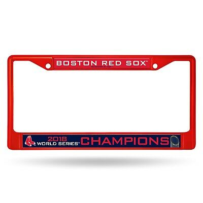 Boston Red Sox Frame (Boston Red Sox 2018 World Series Champions RED Metal Chrome License Plate Frame  )