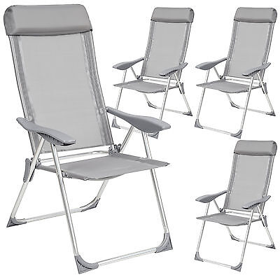 Garden Furniture - Set 4 Aluminium folding garden chairs outdoor camping patio furniture silver