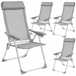Folding Garden Furniture Folding garden furniture ebay set 4 aluminium folding garden chairs outdoor camping patio furniture silver workwithnaturefo