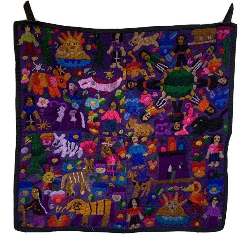 Guatemalan Textile Embroidery Quetzal Bird Mayan Folk Art Wall Hanging Tapestry
