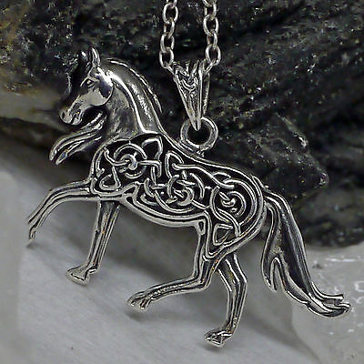 Peter Stone Kraftamulett Pferd 925Silber keltik Knotwork Anhänger Pferdeamulett