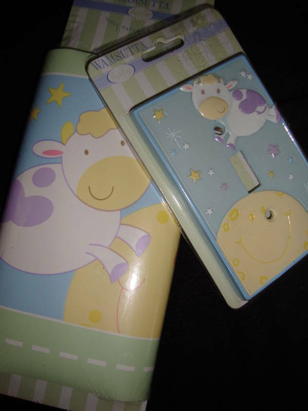NEW WAMSUTTA NURSERY RHYMES COW JUMPED OVER THE MOON SWITCH PLATE & WALL BORDER