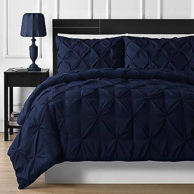 Navy Blue Comforter - Elegant Durable Stitching 3-piece Pinch Pleated Comforter Set in Navy Blue