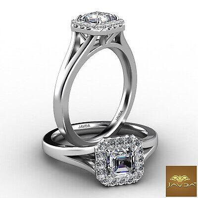 Asscher Diamond Engagement Halo Pre-Set Ring GIA F VS1 18k Yellow Gold 0.92Ct 4