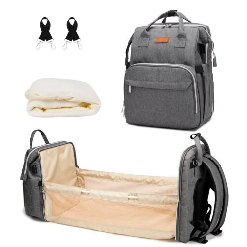 Diaper Bag Backpack with Bassinet Changing-Station - 3 in 1 Waterproof Travel