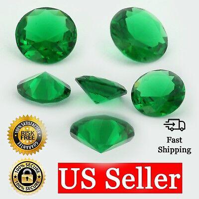 Loose Round Cut Emerald CZ Stone Single Green Cubic Zirconia May Birthstone