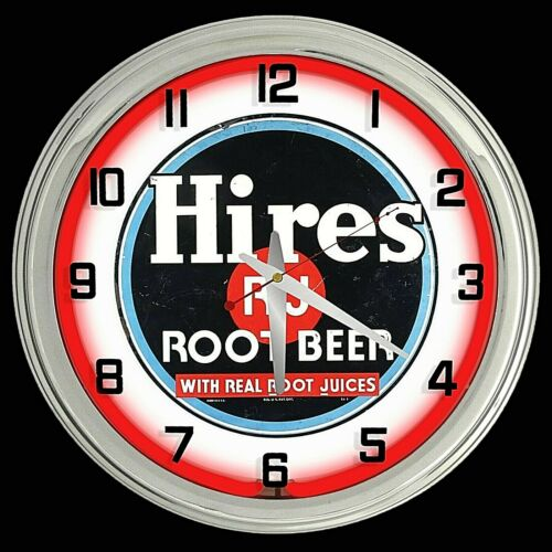 "16"" Hires Root Beer Sign Red Neon Clock Chrome Finish Man Cave Garage"