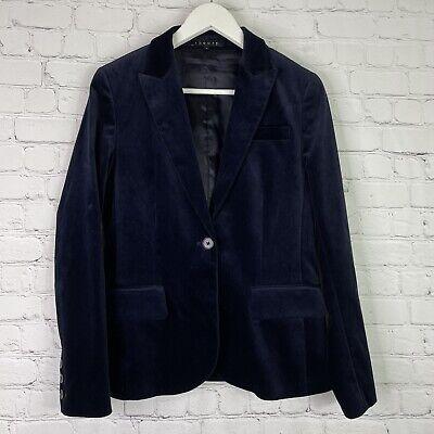 THEORY Women's Navy Blue One Button Velvet Blazer Jacket Size 8