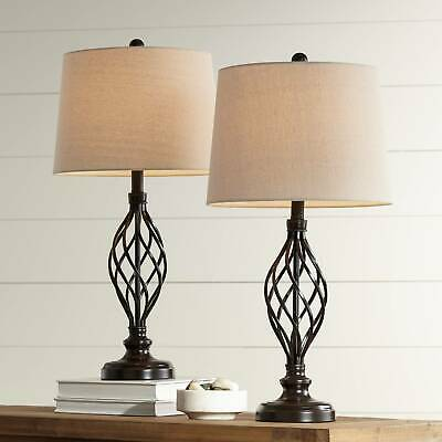 Farmhouse Table Lamps Set of 2 with WiFi Smart Sockets Iron Scroll Living Room