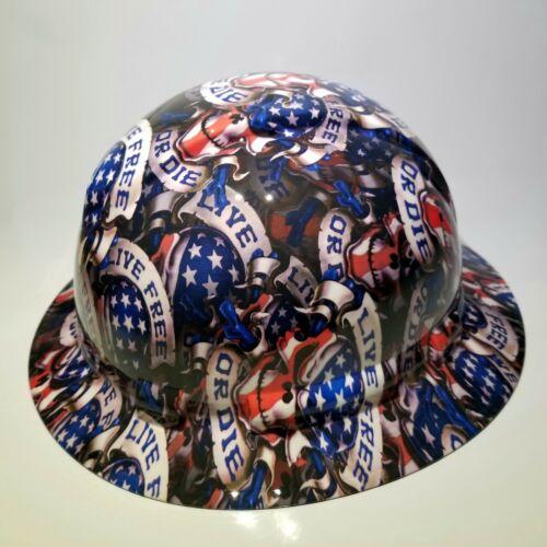 NEW FULL BRIM Hard Hat custom hydro dipped LIVE FREE OR DIE USA AMERICA sick 3