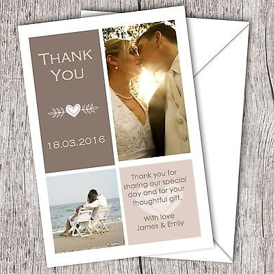 Personalised WEDDING Thank You Cards • Your Photo • Inc. Envelopes (DD3)