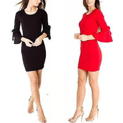 Ladies Scoop Neck Bow Double Frill Ruffle Bell Sleeve Stretch Bodycon Dress Sleeve Scoop Neck Bow
