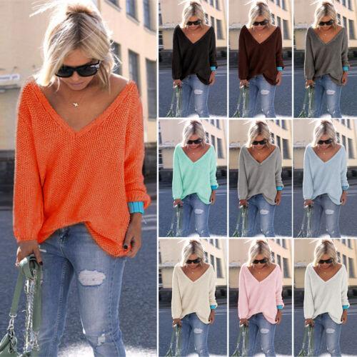 DE Damen V-Ausschnitt Strickpullover Sweater Pullover Pulli Bluse Oversize Top