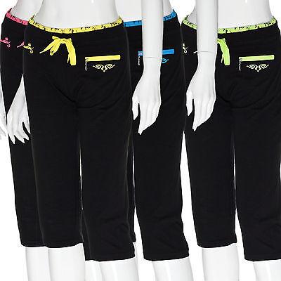 Damen leichte 3/4 Sommerhose Capri Trainingshose Shirthose Pants Kordel Tasche Training Capri-hosen