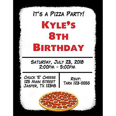 20 Personalized Birthday Invitations -  Pizza Party - Pizza Birthday Party