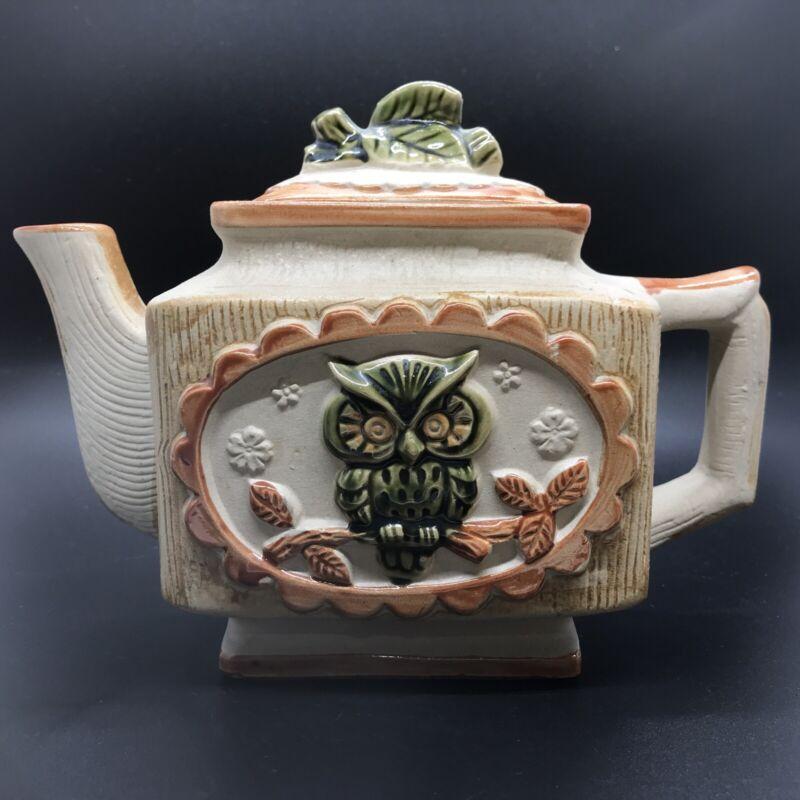 Cute Vintage Rustic Owl Teapot Unglazed, Ceramic