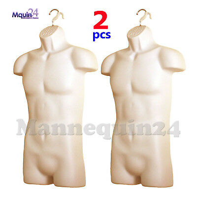 2 Pcs Of Male Mannequin Body Forms - Flesh Hard Plastic Hollow Back