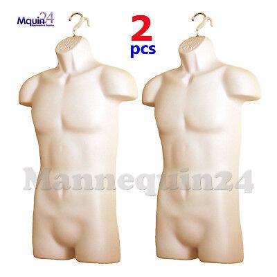 Male Mannequin Torso Body Forms Flesh 2 Pack - Hard Plastic Hollow Back