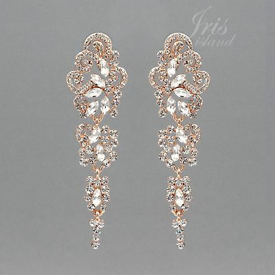 ROSE GOLD Plated Clear Crystal Rhinestone Wedding Bridal Drop Dangle Earrings 04