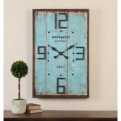 Vintage Wall Clock Large Rustic Shabby Wood Shiplap Chic Distressed Barn Blue