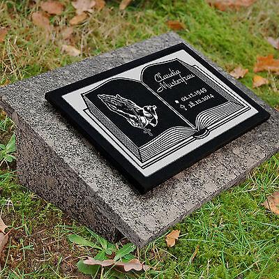 Granit Grabstein Grabplatte + Rückplatte + Stütze 40x30 cm Text Gravur Buch gg4s