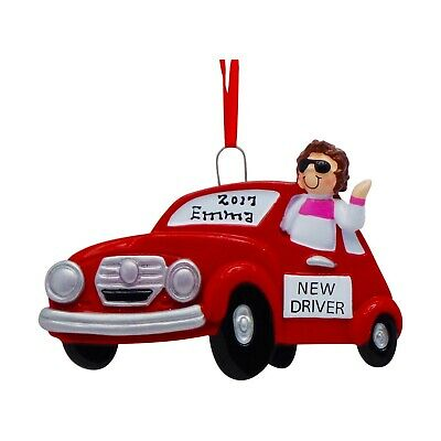 PERSONALIZED Teen Girl Driver Red Car Christmas Ornament 2019 Holiday Gift ()