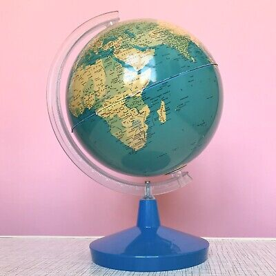 VINTAGE RETRO 60s 70s TIN LITHOGRAPH KITSCH SPINNING WORLD GLOBE CHAD VALLEY TOY