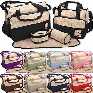 Baby-nappy-changing-bag-set-5PCS-Brand-New-Cute-diaper-bags-UK-Seller