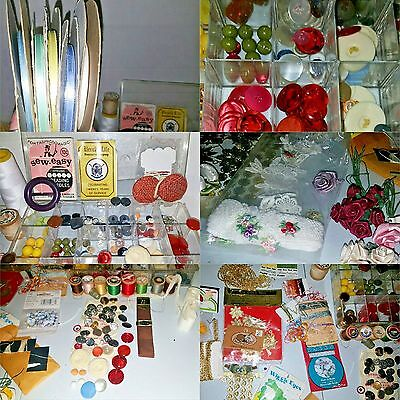 Lot Buttons Boutique Spools Rose Ribbons Vtg retro Craft Sewing Notations
