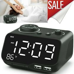 Dual Digital  Alarm Clock With Radio Dual USB Charging Auto Off Timer Snooze
