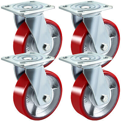 4pack 6 Pu Casters 360 Degrees Swivel Safety 2 Width