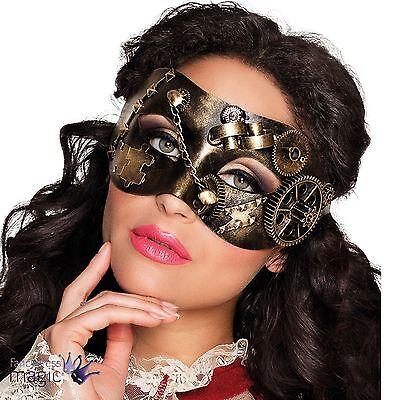 Damen Herren Deluxe bronze Steampunk Augen Maske venezianische Maskerade Ball