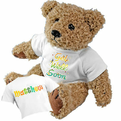 Beautiful Personalised Get Well Soon Teddy Bear and Gift Bag - Add a Name Gift Get Well Bag