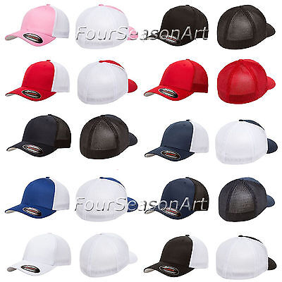 FLEXFIT TRUCKER MESH CAP PLAIN BLANK BASEBALL HAT FLEX FIT CURVED FITTED - 6511 - Blank Trucker Hats