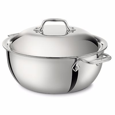All Clad 5.5 Quart Dutch Oven with Lid - Tri-Ply Stainless (4500) - NEW IN BOX