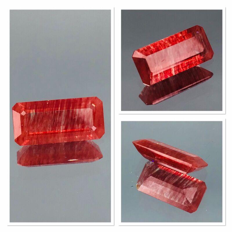 Ultra Rare Red Rutile Gemstone Highly Rutilated Untreated 1.50 Carat Hand Cut