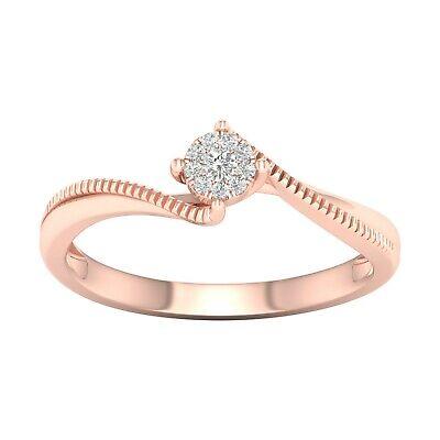 Tdw Diamond Promise Ring - 10k Rose Gold 0.05ct TDW Diamond Cluster Bypass Promise Ring