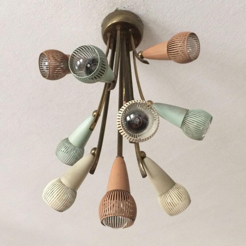 Rare Mid Century Modern Sputnik Atomic 10-armed Chandelier Ceiling Lamp Stilnovo
