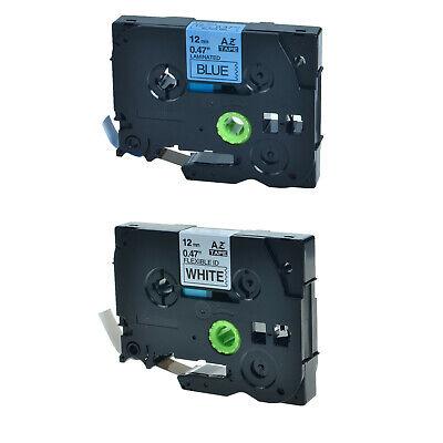 2pk Tze Tz 231 531 Black On White Blue Label Tape For Brother Pt-d450