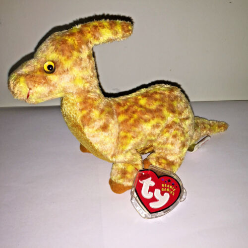 "Retired Rare TY Plush Beanie Baby ""Tooter"" The Dinosaur w/Tags"