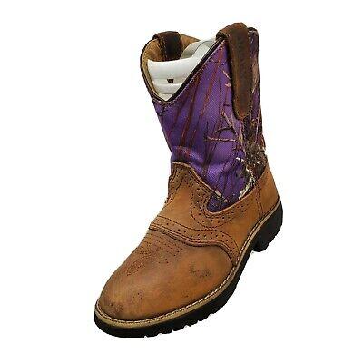 Smoky Mountains Brown Purple Camo Cowboy Boots Girls Size 13.5 - 2556