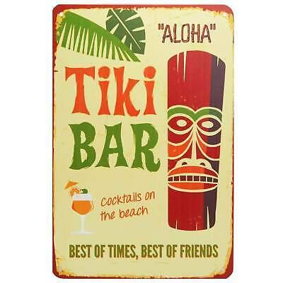 Aloha Tiki Bar Retro Metal Tin Sign Homewares Decor 50s Vintage Hawaii Cocktail